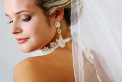 Portrait of pretty bride posing before camera Stock Photos