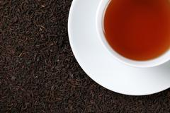 black tea with copy space - stock photo