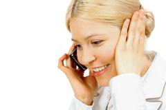 Close-up of a blonde talking on the phone Stock Photos