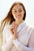 image of happy female enjoying life on summer day - stock photo