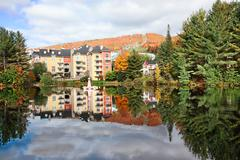 fall season in mont-tremblant, quebec, canada - stock photo