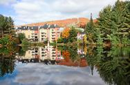 Stock Photo of fall season in mont-tremblant, quebec, canada