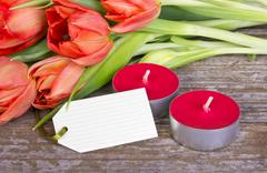 Tulips and candles Stock Photos