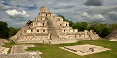 maya edzna complex, the temple five floors - stock photo