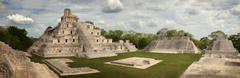 maya edzna complex, the temple five floors. yucatan, campeche, mexico. - stock photo