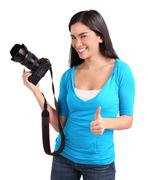 young lady photographer had a successful photo shoot - stock photo