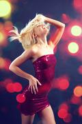 beautiful glamorous girl dancing club dance - stock photo