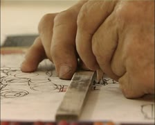 Outsider Art - Art Brut - Joseph Hofer hand drawing with a pencil Stock Footage