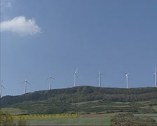 Wind turbines on hillside in Basque mountains, Spain Stock Footage