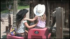 Little Cowgirls - stock footage