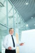 Portrait of elderly teacher pointing at whiteboard in office Stock Photos