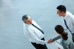 Image of business partners handshaking after signing contract Stock Photos