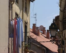 Laundry narrow street in village of Najera, Spain Stock Footage