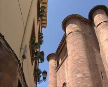 Round towers of Santa Maria la Real Monastery, Najera, Spain Stock Footage