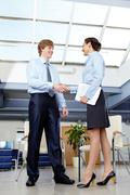 Businesswoman and businessman shaking hands Stock Photos