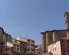 Pan + hold exterior of Santa Maria la Real Abbey Stock Footage