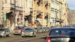 Old buildings in the street, St.Petersburg, Russia Stock Footage