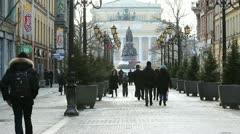 Pedestrians walking near Nevsky Street, St.Petersburg, Russia Stock Footage