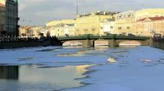Bridge on Fontanka river in Winter, St.Petersburg, Russia Stock Footage
