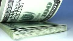 Flipped wads of money Stock Footage
