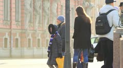 Pedestrians on a busy street, St.Petersburg, Russia Stock Footage