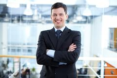 Portrait of happy businessman looking at camera with smile Stock Photos