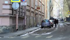 Narrow street in Winter, St. Petersburg, Russia Stock Footage