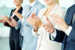 Photo of business partners hands applauding at meeting Stock Photos