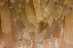 Wide Macro of Quartz Calcite crystals - yellow - stock photo