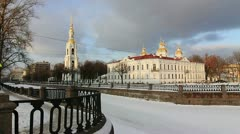 Nikolsky Cathedral and frozen river, St.Petersburg, Russia Stock Footage