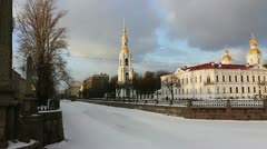 PAN: The Nikolsky Cathedral, St.Petersburg, Russia Stock Footage