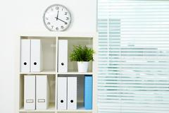 image of board with documents and green plant in office - stock photo