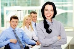 portrait of young business people being ready for achievement - stock photo