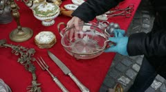 Shopping on Antique Fair - Flea market Stock Footage