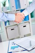 Photo of handshake of business partners after striking deal on background of doc Stock Photos