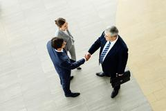 image of business partners handshaking after striking deal with smart woman near - stock photo