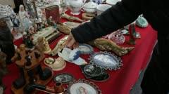 Antique Fair - Flea market: Porcelain angel Stock Footage
