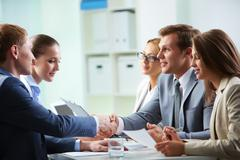 Image of confident businessmen handshaking at meeting Stock Photos
