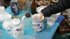 Antique Fair - FLEA MARKET Kitchenware, kitchen utensils Stock Footage