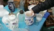 Antique Fair - FLEA MARKET Kitchenware, kitchen utensils Stock Footage