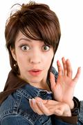 woman surprised about something - stock photo