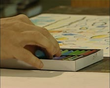 Stock Video Footage of Outsider Art - Art Brut - hand drawing with a crayon