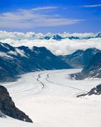 aletsch glacier in the alps, switzerland - stock photo