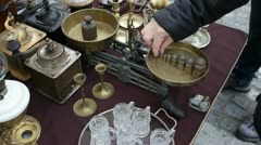 Antique Fair - Flea market Metal balance Candlestics Stock Footage