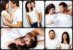 collage of happy couple showing their affection and commitment - stock photo