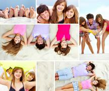 Collage of joyful teenage friends on sandy beach Stock Photos
