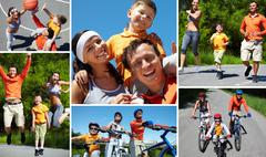 collage of sporty family having active leisure - stock photo