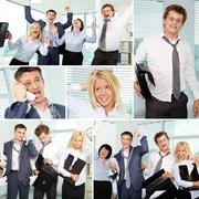 Collage of tired businesspeople in office Stock Photos
