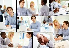Collage of confident business partners at work Stock Photos