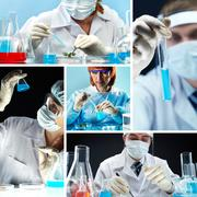 Collage of people in medical uniform working in lab Stock Photos